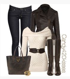 jacket top shirt sweater knit sweater off the shoulder off the shoulder sweater belt ivory cream folded over long sleeves jeans coat leather jacket side zipper collar brown dark chocolate dark chocolate brown boots brown boots knee high boots bag purse clothes outfit