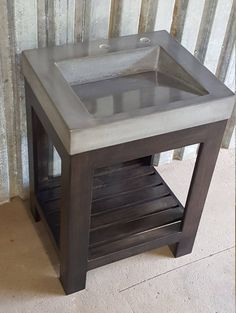 Rustic Bathroom Vanity - Reclaimed Barn Wood Vanity w/Tin Doors Outside Sink, High Strength Concrete, Washbasin Design, Bathtub Decor, Rustic Bathroom Vanities, Concrete Furniture, Concrete Crafts, Wood Vanity, Reclaimed Barn Wood