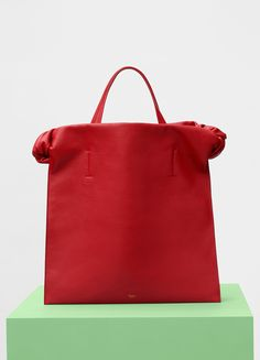 Medium with Knots Tote in Scarlet Smooth Calfskin - Céline