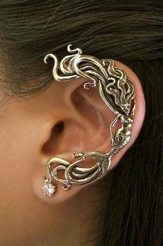 Mermaid Ear Wrap Silver - Mermaid Ear Cuff - Wave Rider Mermaid Ear Wrap - Mermaid Jewelry Mermaid Earring - Silver Mermaid - Non Pierced