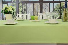 Lindgrüne Garten-Tischdecke. Helle Farben bringen frische auf den Tisch und bleiben, durch einen hohen Lichtschutzfaktor, immer strahlig.