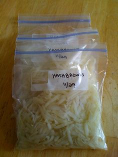 Freezing Homemade Hash Brown, shred, keep in cold water until all are shredded, blanch 2 - 3 minutes, rinse in cold water, drain, pat dry, freeze, that's it, I thought potatoes couldn't be frozen!!