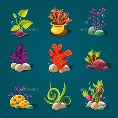 Set Of Cartoon Algae, Elements For Aquarium