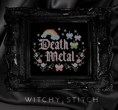 Death Metal Cross Stitch Pattern Let your freak flag fly with quite possibly the darkest....most evil cross stitch to ever exist... Finished stitch area on 14 Aida is 5.21 inches wide by 4.29 inches high. ★This listing is for the pattern only. No physical item will be sent. It is an