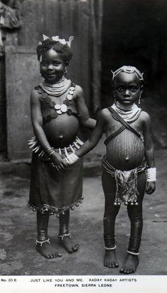 "Africa | ""Just like you and me, Freetown, Sierra Leone."" || Vintage postcard; publisher Kaday Kaday Artists"