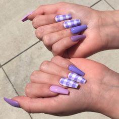Installation of acrylic or gel nails - My Nails Purple Acrylic Nails, Summer Acrylic Nails, Best Acrylic Nails, Purple Nails, Summer Nails, Brown Nails, Plaid Nails, Swag Nails, Acylic Nails