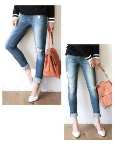 Distressed Skinny Jeans - Luz Llena | YESSTYLE