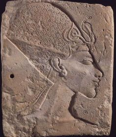 Ancient Egyptian khepresh, or pharaonic war crown/blue crown, complete with uraeus. New Kingdom.
