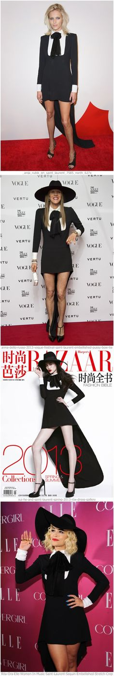 Who wear Saint Laurent dress better? Anja Rubik; Anna Dello Russo; Rita Ora; or Sui He? Buy similar dress: http://getthelooks.com.au/pussy-bow-shirt-dress-with-tail on eBay: http://www.ebay.com.au/itm/High-Low-Hem-Pussy-Bow-Shirt-Mono-Sequin-Dress-Tuxedo-Asymmetric-Silk-Runway-/171172191475?pt=AU_Womens_Clothing_2&var=&hash=item6d805c8441