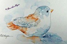 Baby Bird Figurine Print of Watercolor Painting by RoseAnn Hayes - prints available in Etsy shop