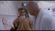 """Twelve monkeys, 1995, Bruce Willis, Madeleine Stowe, Brad Pitt.  """"There's no right, there's no wrong, there's only popular opinion."""""""