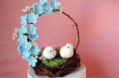 Handmade Forget me nots wedding cake topper bird nest in blue