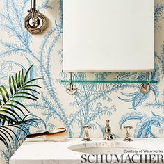 A Designer's Resource For Fabric, Wallpaper, and Trim Coastal Wallpaper, Toile Wallpaper, Bathroom Wallpaper Inspiration, Life Under The Sea, Luxury Flooring, Blue Home Decor, Interior Concept, Inspirational Wallpapers, Wall Treatments