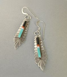 A Precious Pair of Vintage Native American Sterling Silver Zuni Earrings featuring Mosaic Gemstone Inlay of Bright Turquoise, Coral, Mother of Pearl,