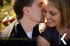 Such a sweet kiss on the cheek, from an apple orchard engagement session in Albany, NY