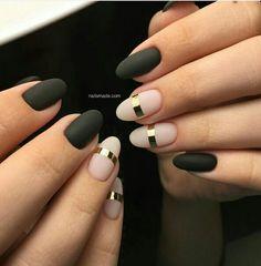 Love.pink-black-gold nails-so pretty!
