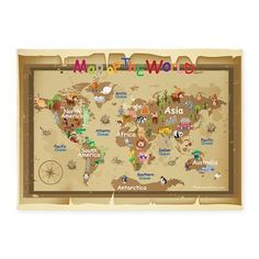 World Map For Kids - Earth Tones 5'x7'Area Rug