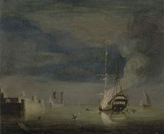 Charles Brooking - A Two-Decker on Fire at Night off a Fort Moonlight Painting, Night Off, Google Art Project, Battleship, Art Google, Sunrise, Instagram Images, Wall Art, Artwork