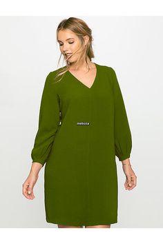 Melisita Romy Büyük Beden Haki Yeşil Tunik Elbise