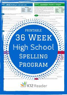 FREE, printable 36 Week High School Spelling Program! Provided by K12Reader @ www.k12reader.com