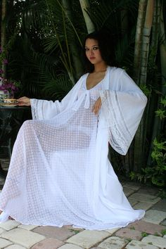 Long white sheer nightgown & kimono robe with bell sleeves & lace detail from SarafinaDreams on Etsy.