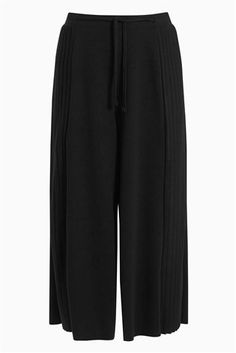 Black Jersey Side Pleated Culottes