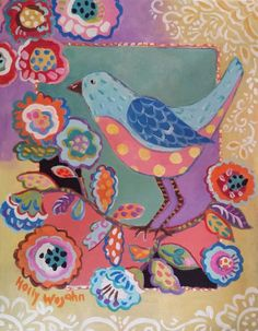 """ARTFINDER: BoHo BlueBird on a Flowery Branch by Holly Wojahn - Another BoHo Chirp, this one is the companion to the """"BoHo Yellow Bird"""".... A whimsically, wild mix of color and pattern,  the combination of the details coe..."""