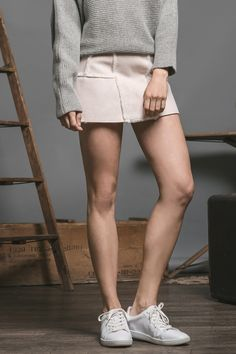 SUEDE MINI SKIRT WITH TRIM DETAILS