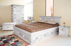 #Bett Hacienda Pinie weiß massiv Holz #Moebel #Schlafzimmer Doppelbett