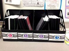 Storage for interactive notebooks in the classroom. These magazine bins can be purchased at any office-supply store (and WalMart) pretty cheaply. Each one holds 10-15 books easily. I've squeezed 17 in one, but it's a tight fit.