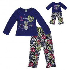 """Cat Nap"" Two-Piece Sleepwear Set with Matching Outfit for 18 inch Play  Dolls e9e5627b5"