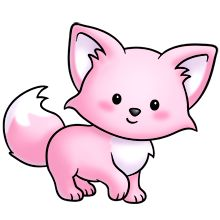 pink kitty :D Cute Cartoon Animals, Baby Animals, Cute Animals, Pretty Drawings, Kawaii Drawings, Funny Animal Pictures, Cute Pictures, Pink Fox, Kawaii Doodles