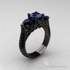 alexandrite stone rings | ... Stone Russian Chrisoberyl Alexandrite Black Diamond Solitaire Ring