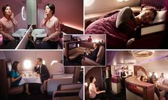 Caviar on demand, Giorgio Armani washbags and HD TV screens: Inside Qatar Airways' new first class suites Flying First Class, Upper Deck, Cabin, Luxury, Giorgio Armani, Mail Online, World, Daily Mail, Screens