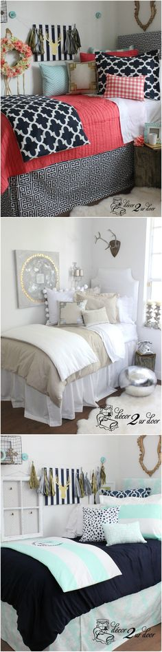 Decorating a dorm room? Check out Décor 2 Ur Door for the latest dorm room deco. Decorating a dorm room? Check out Décor 2 Ur Door for the latest dorm room decorating trends. Dorm Room Bedding, Dorm Room Designs, College Room, College Life, Cute Dorm Rooms, Teen Rooms, My New Room, Dorm Decorations, Girls Bedroom