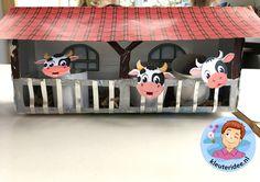 Stal met koeien knutselen, kleuteridee, Kindergarten stable with cows craft, with printable cows.