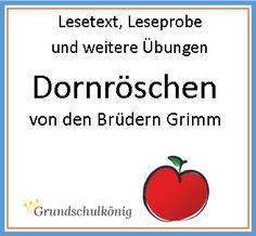 """Lesetexte zum Verbessern der Lesekompetenz,  Leseproben und  Lückentext zum Märchen """"Dornröschen"""" der Gebrüder Grimm"""