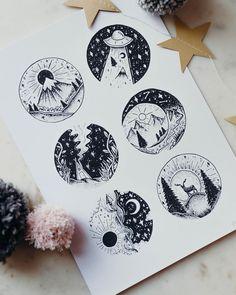 Arte criada pela artista Jill Ilsay (jill_islay) da Escócia.    Miniaturas de paisagem em blackwork.    #desenho #drawing #art #arte Body Art Tattoos, Sketch Book, Beauty Drawings, Drawings, Amazing Art, Doodle Art, Body Art, Beautiful Drawings, Art