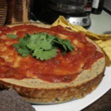 Savory Black Bean Goat Cheesecake with Peach Salsa by Lauren
