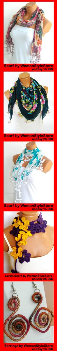 Turquoise White flower Scarf Turkish Chiffon by WomanStyleStore, $14.00