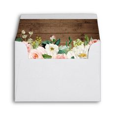 Shop RSVP - Watercolor Blush Floral Rustic Wood Envelope created by CardHunter. Personalised Wedding Invitations, Wedding Envelopes, Wedding Stationery, Invites, Watercolor Wedding, Watercolor Flowers, Floral Wedding, Rustic Wedding, Custom Printed Envelopes