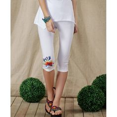Casual Cotton Embroidered Leggings For Women, WHITE, XL in Leggings | DressLily.com