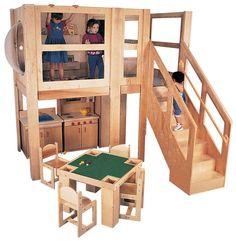 Strictly For Kids Mainstream Explorer 5 School Age Loft, Beige Carpet, Steps Left, x x deck (Furniture not included; Preschool shown)