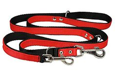 1 Wide 6 Way European Multifunctional Nylon Dog Leash Adjustable Lead Red 4070 Long -- Check out this great product. This is an Amazon Affiliate links.