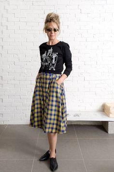 90's Grunge skirt, casual plaid midi skirt, high waist blue and yellow skirt on Etsy, $89.00