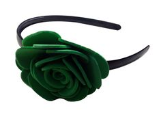 Green color flower Hair-band (one flower), made of imported  rubber sheets, designed and crafted by village women, giving a   new fashion style to hair accessories.   Color: Green   Material: Imported Rubber sheets   Base material: Imported plastic Hair-band