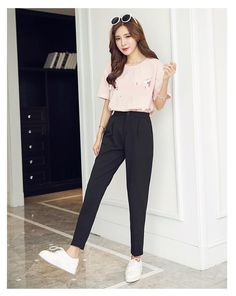 ... caliente 2019 otoño coreano femenino clásico alta cintura elástica  pantalones de harén de las mujeres moda Slim sólido Color tobillo longitud  pantalones ... 3e1fbff8bb47
