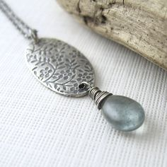 Jasmine Necklace No. 2 ~ Moss Aquamarine, Fine and Sterling Silver. ~ $69.00
