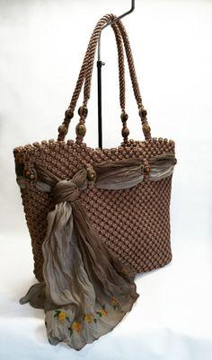 Brown Macrame bag handmadetotepurse handbag by BagsMagicKnots