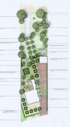 Moderne formele landschapstuin Wieringen. Het ontwerp is in lijn met de woning, de woning staat evenwijdig met de straat. Ontwerp 1999 IJsbrand Maaskant